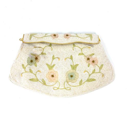 Vintage Japanese Floral Beaded Clutch- Front