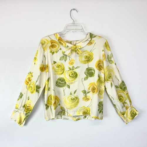 Vintage Illustrated Floral Collared Blouse- Front