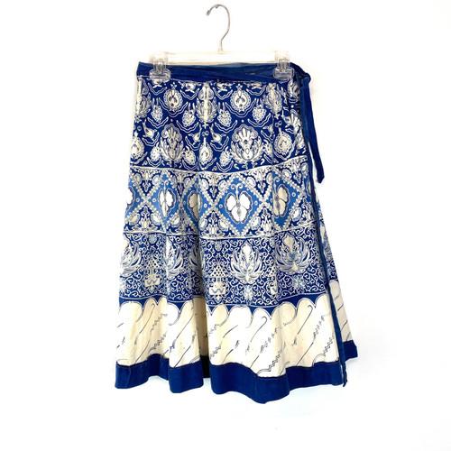 Vintage Printed Cotton Wrap Skirt- Front