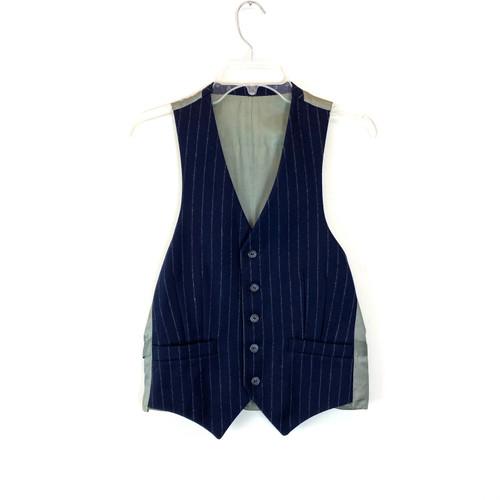 Vintage Striped Wool Waistcoat- Front