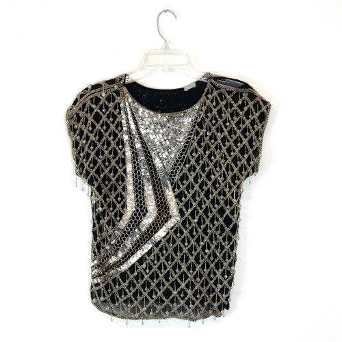 Vintage Beaded Diamond Pattern Top- Front