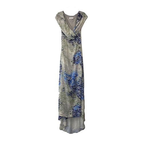 HERJA Palm Leaf Print Off Shoulder Wrap Gown- Front