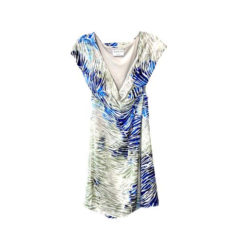 HERJA Palm Leaf Print Off Shoulder Wrap Dress- Front