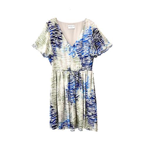 HERJA Palm Leaf Print Flirty Mini Dress- Front