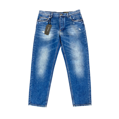 Dolce & Gabbana Musical Embroidered Denim Trousers- Front