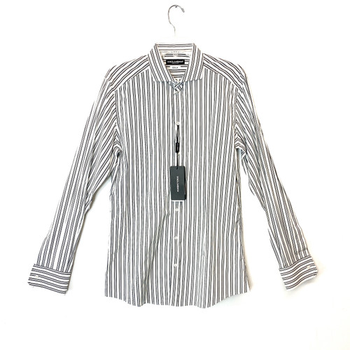 Dolce & Gabbana Black and White Pinstripe Cotton Shirt- Front