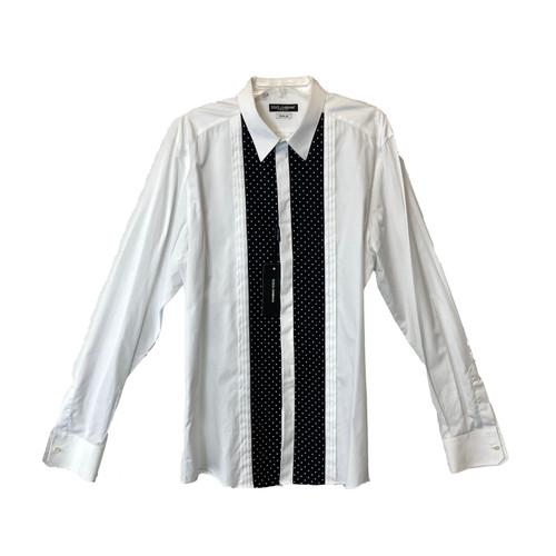 Dolce & Gabbana Polka Dot Pleated Dress Shirt- Front
