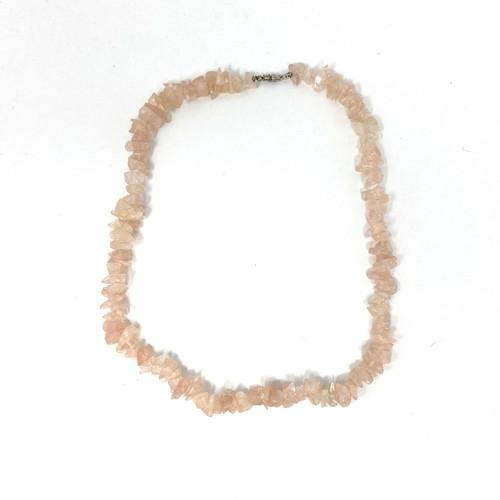 Rose Quartz Stacked Shard Necklace- Front