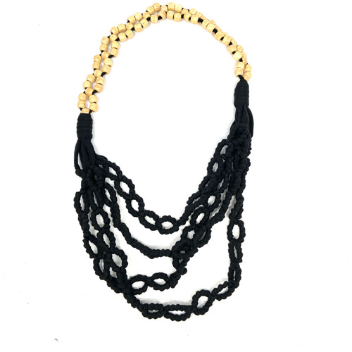 Wood Bead and Macrame Style Fabric Necklace- Thumbnail