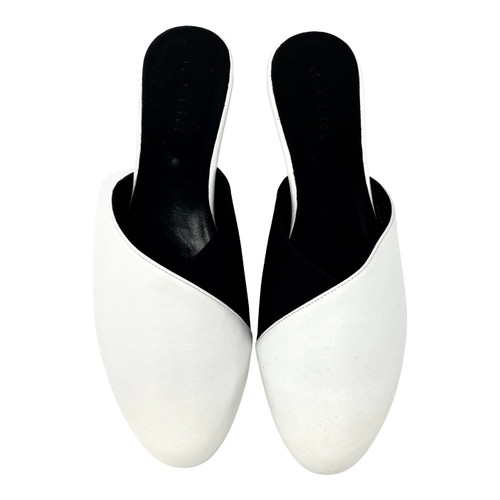 M. Gemi The Guanti Black White Leather Slides- Top