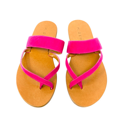 M. Gemi The Medio Due Cherry Suede Sandals- Top