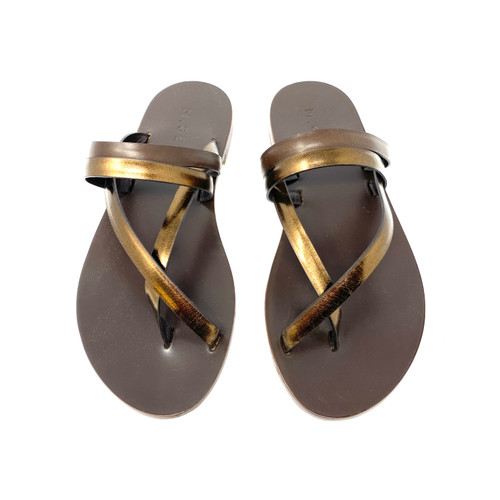 M. Gemi The Medio Due Chocolate and Bronze Leather Sandals- Top