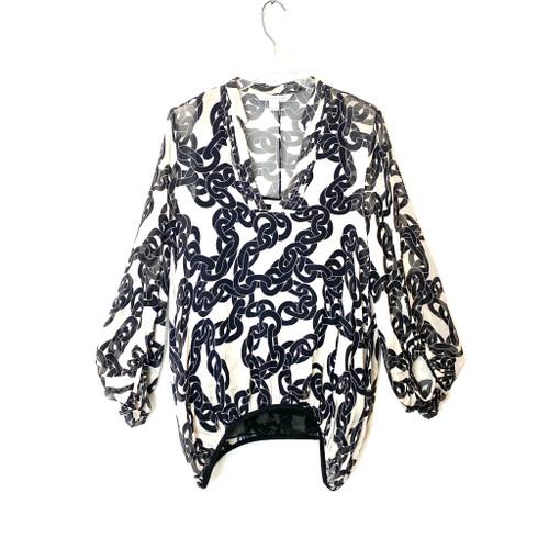 Diane von Furstenberg Silk Sheer Chain Print Tunic Blouse - Thumbnail