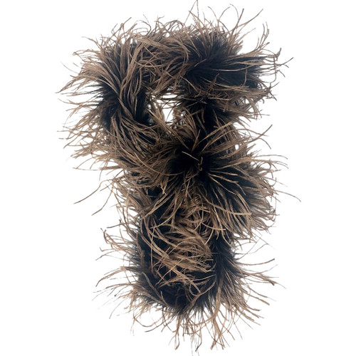 Two-Tone Skinny Feather Scarf-Tied