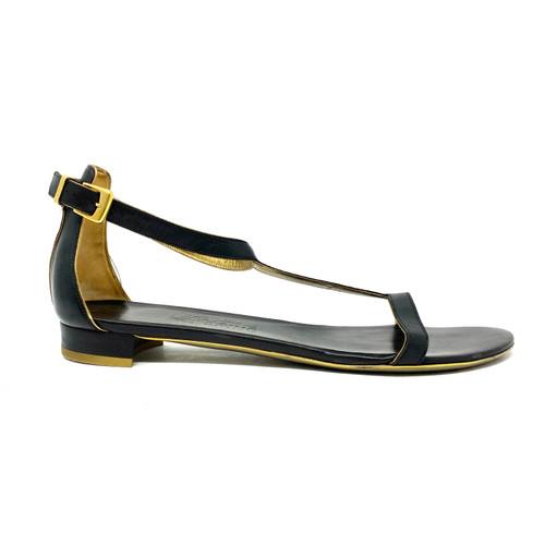 Salvatore Ferragamo Leather Flat Sandals - Thumbnail