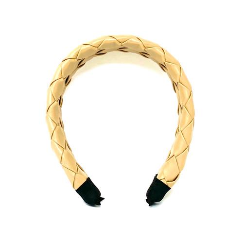 Woven Faux Leather Headband - Thumbnail