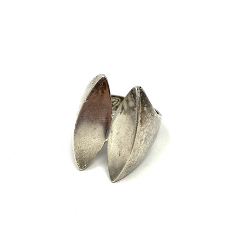 Modernist Silver Cleaved Ring- Thumbnail