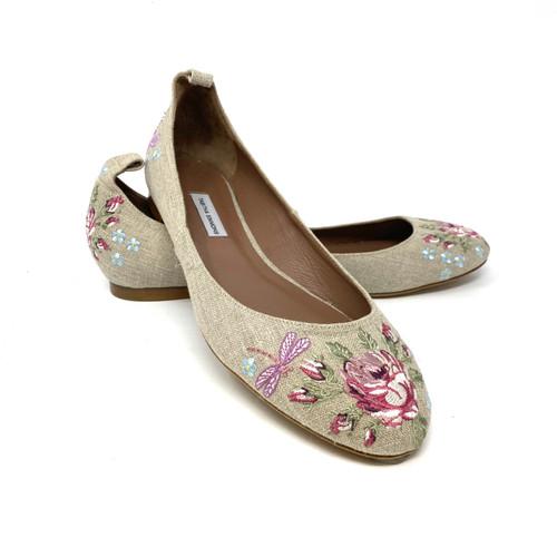 Tabitha Simmons Embroidered Linen Flats- Thumbnail