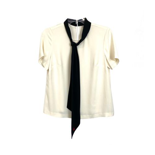 Tie Neck Draped T-Shirt- Front