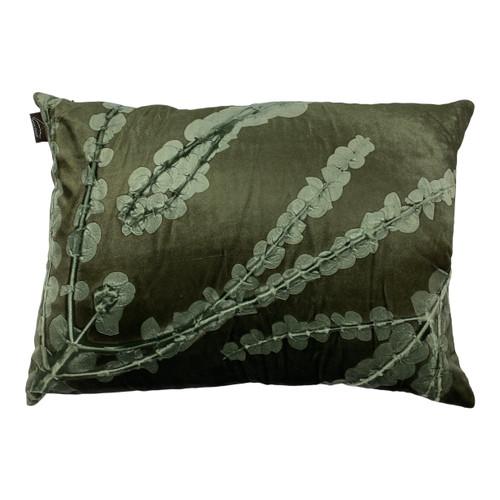 Rectangular Green Handmade Branch and Leaf Pillow - Front