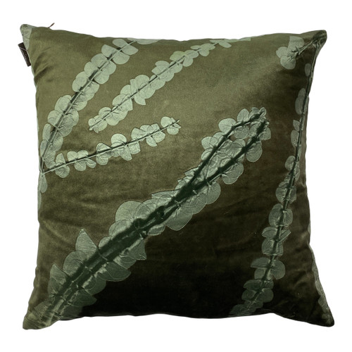 Square Green Handmade Branch and Leaf Pillow - Front