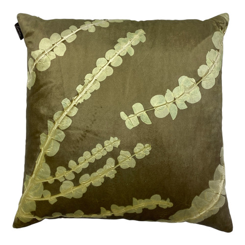 Square Light Green Handmade Branch and Leaf Pillow - Front