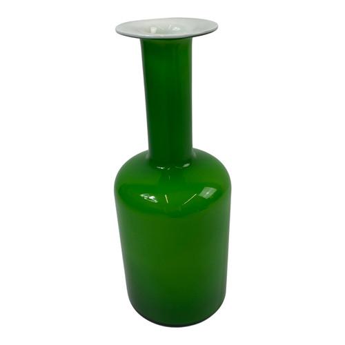 "Otto Braver Green Cased Glass ""Gulvvase"" Vase- Thumbnail"