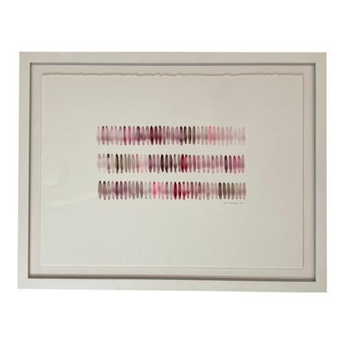 Sarah Von Dreele Framed Gouache Pink Brushstrokes - Front