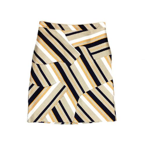 Derek Lam 10 Crosby Refracted Stripe Woven Skirt- Front