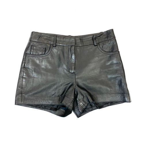 Vintage Leather Mini Shorts- Front
