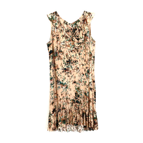 Peruvian Connection Ruffled Neckline Floral Dress- Front