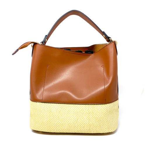 Vegan Leather and Woven Combination Bag- Front