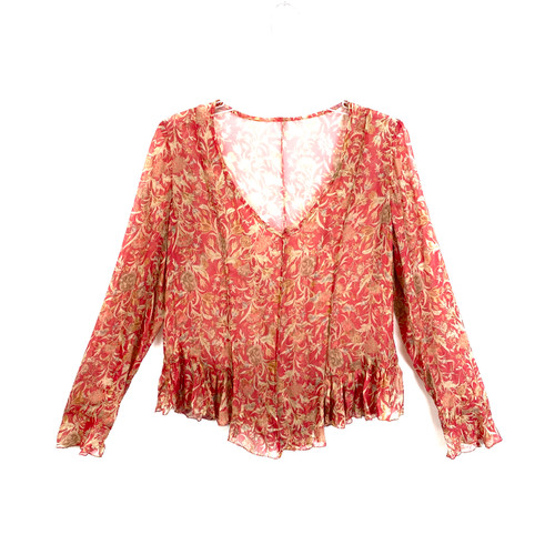 Peruvian Connection Darted Floral Blouse- Front