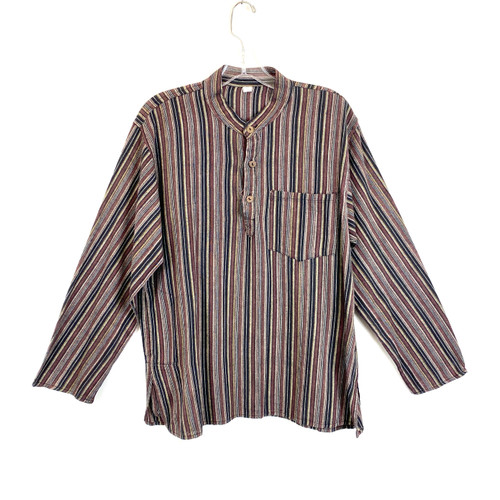 Rustic Vertical Stripe Stand Collar Shirt- Front
