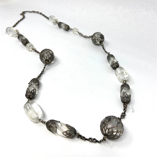 Caged Clear Beads Necklace- Front
