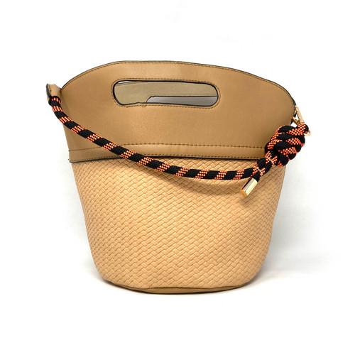 Rope Handle Textured Bucket Bag- Front
