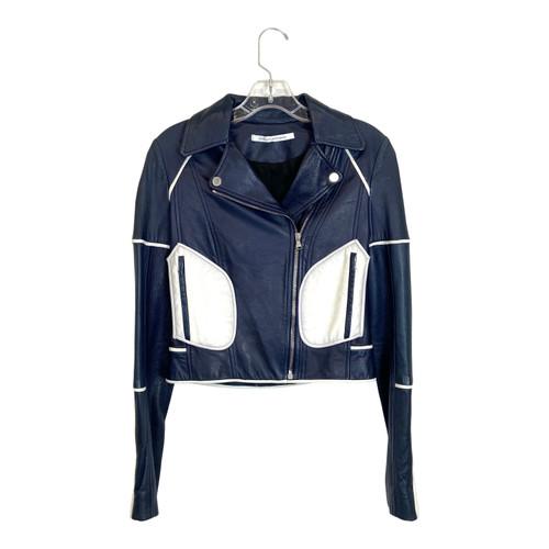 Diane von Furstenberg Two Tone Leather Jacket- Front