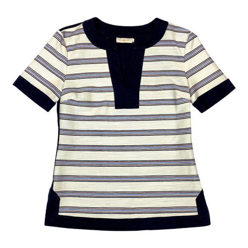 Tory Burch Striped Split Neck T-Shirt- Front