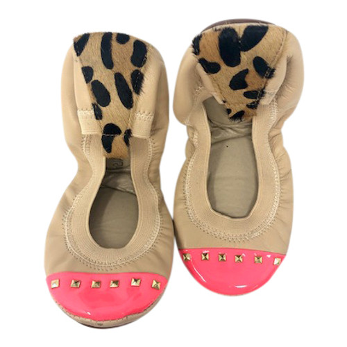 Yosi Samra Leopard and Patent Accent Commuter Flats-Front