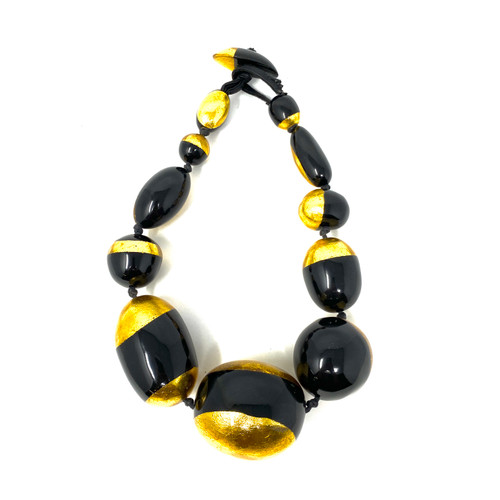 Gold Leaf and Laquer Statement Bauble Necklace- Front