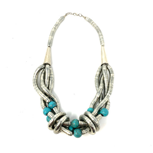 Silver Flexi Cord Statement Necklace- Front