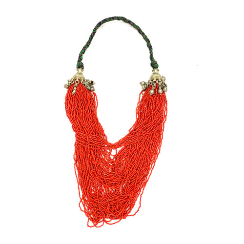 Tribal Inspired Seed Bead Multistrand Necklace- Front
