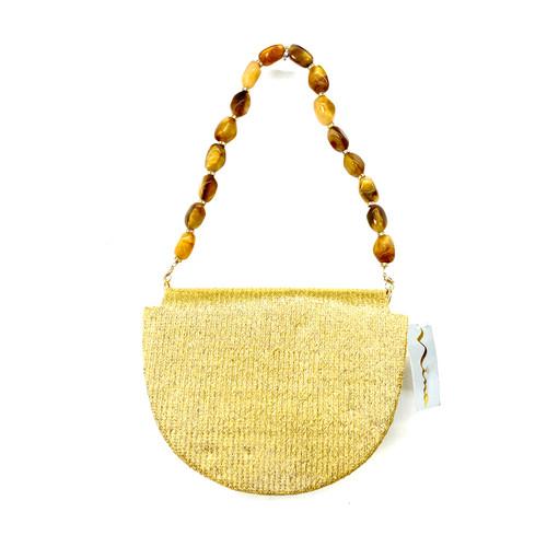 Nina Gold Demi Lune Handbag- Front
