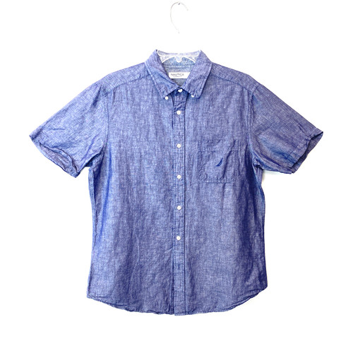 Nautica Short Sleeve Chambray Button Down- Front