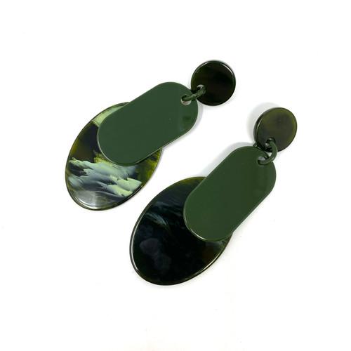 Minimalist Shapes Plastic Drop Earrings- Front