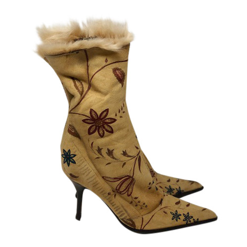 Roberto Cavalli Printed Suede Booties-Right Side
