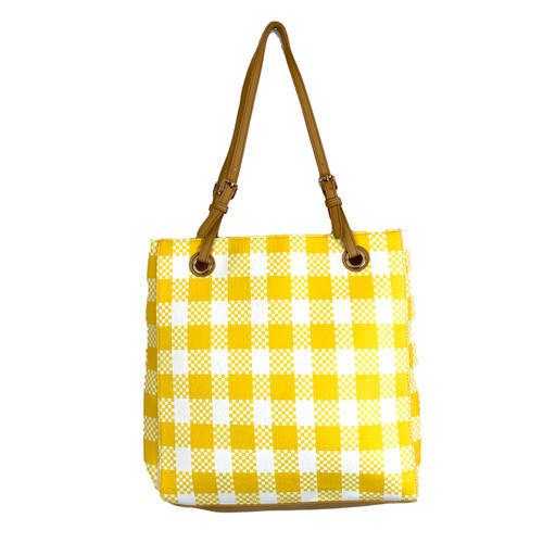 Sunshine Checkered Tote Bag- Front