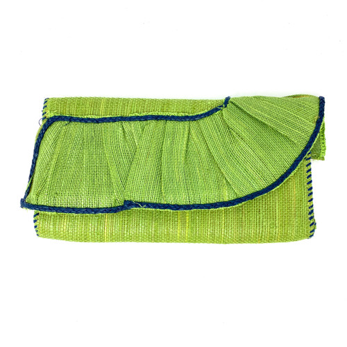Ruffled Straw Clutch- Front