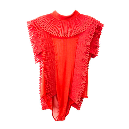 Ruffled Red Bodysuit- Front