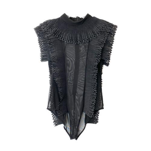 Ruffled Black Bodysuit- Front